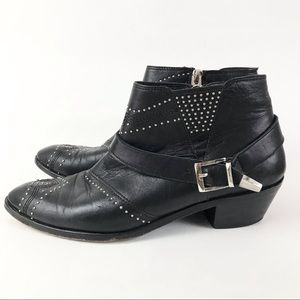 Anine Bing 41 US11 Black Ankle Moto Boots Booties Studded Leather